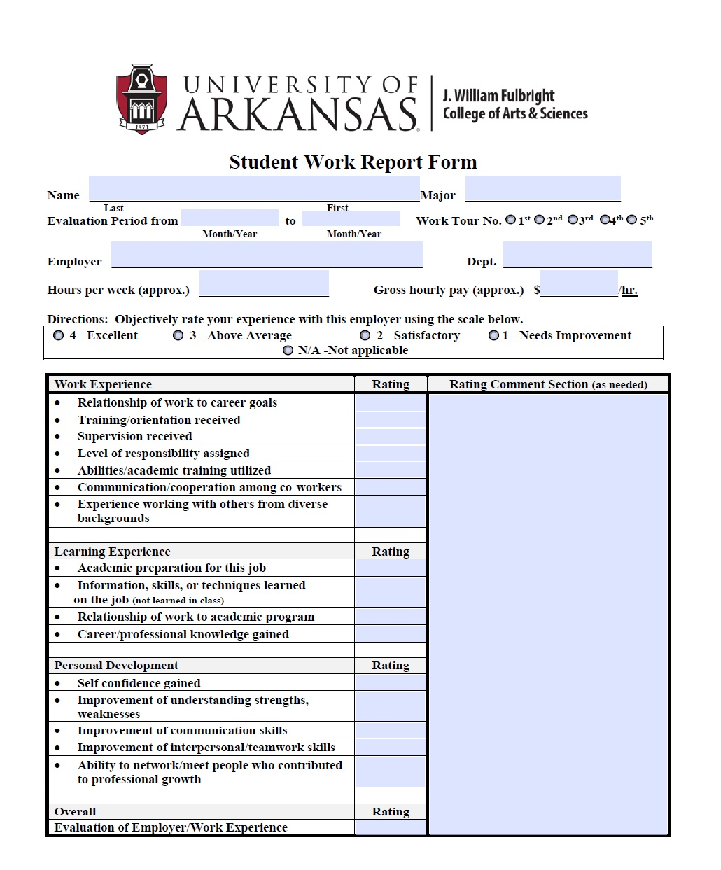 final internship evaluation form Final internship evaluation: agency supervisor feedback  at the end of the form)  problems encountered during the internship since the mid-term evaluation.